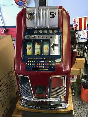 Mills High Top 5c Slot Machine, Restored and Beautiful, with Stand