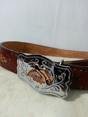 VTG Men Tooled Braid Brown Leather Belt LasVegas Buckle Western Cowboy HatGun 34