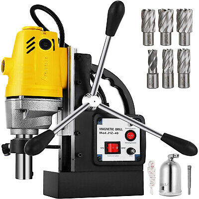 "MD40 Magnetic Drill Press 7PC 1"" HSS Cutte Set Mag Drill Lightweight 550 RPM"