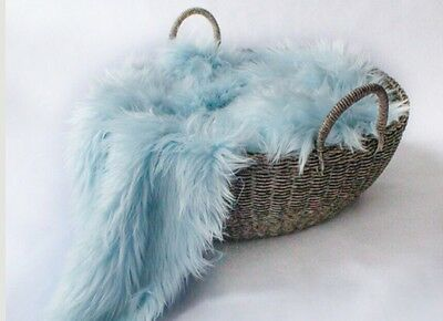 "Faux Fur Baby blue 20""x20"" very soft props Newborn Photography blanket"