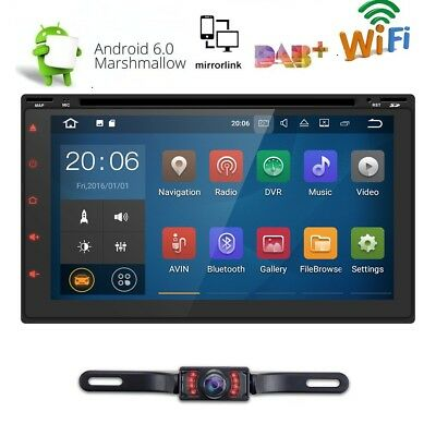 "GPS Navigation 7"" Double 2DIN Car Stereo DVD Player Bluetooth Radio HD+free CAM"