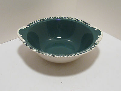 Harker Corthinthian Dark Teal Green Vegetable Bowl With White Gadroon Trim