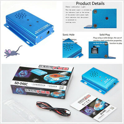 DC 12V Mouse Repeller Ultrasonic Pest Control Mice Repellent Under Hood In Car