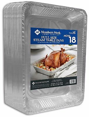 Member's Mark Aluminum Steam Table Pans Full Size 18 Ct 100% Recyclable - New