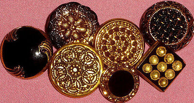Vintage Black Glass Moonglow Mirror Back Twinkle Gold Luster Fancy Buttons