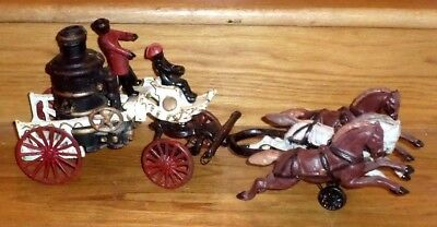 """Vintage 20"""" Fire Truck Steamer Pumper Heavy Cast Iron Toy 3 Galloping Horses"""