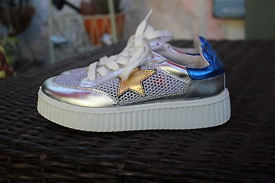Coolway Silver Platform Sneaker Stars Gold Mesh Blue Tiffany 6.5 NEW $60 AMAZING
