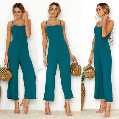Women Casual Knitting Sleeveless Pants Suspenders Rompers One-Piece Jumpsuits AU