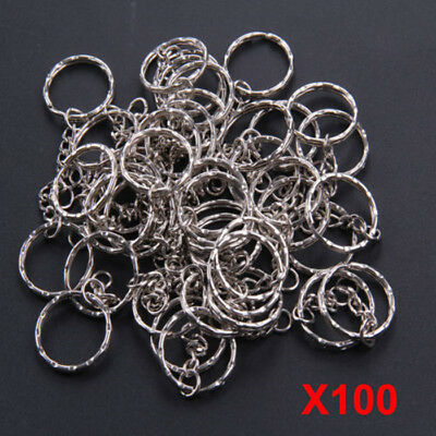 100pcs Keyring Blanks Key Chains Silver Tone Findings Split Rings 4 Link