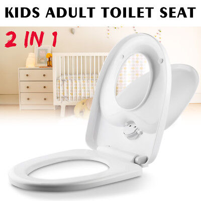 2 in 1 Kids Adult Family Potty Safety Training Toilet Seat Chair Cover Yellow AU