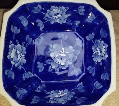 "BLUE & WHITE Asian Floral Square Porcelain Bowl Dish 8""by 8"" and 31/2"" Tall"