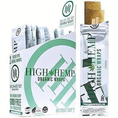 High Hemp Organic Wrap 25 Pouch in Full Box 2 Wraps in a Pouch 50 Wraps Original