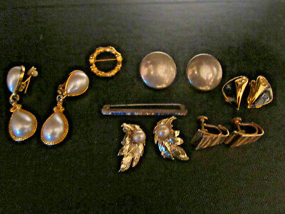 Vintage Antique Lot of  Clip Screwback Rhinestone Earrings Gold Silver tone Pin