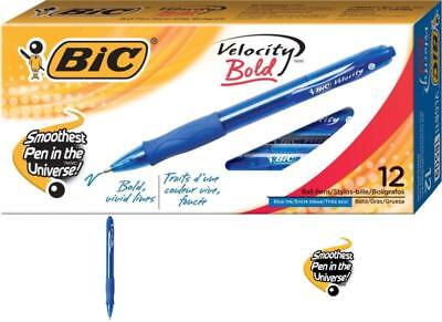 12 Pack BIC Velocity Retractable Ballpoint Pen 1.6mm Bold Blue Refillable Ink