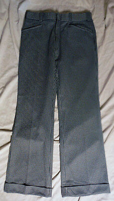 70s THE KNACK Mens Houndstooth Vintage BELLBOTTOM Cuffed Pants 34 X 30 Talon zip