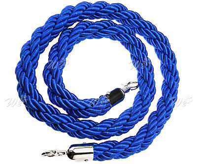 Blue Twisted Barrier Rope 1.5M Queue Divider Crowd Control Stanchion