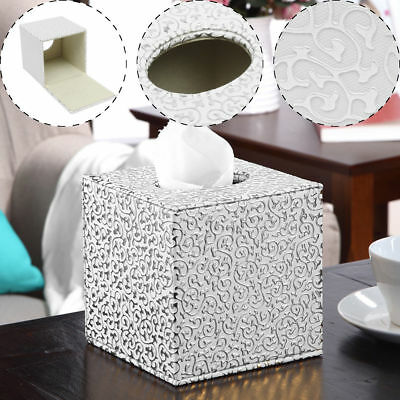Silver/Gold Square PU Leather Tissue Box Toilet Holder Cover Paper Case Office