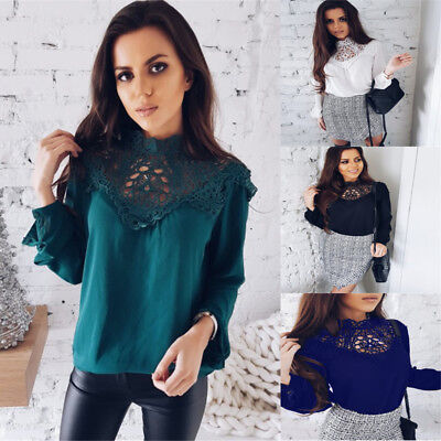 Women Ladies Tee Tops Long Sleeve Shirt Hollow Out Flowers Lace Chiffon Blouse