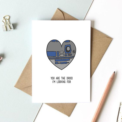 Valentines Card With Envelope Gift Anniversary Love Star Wars Droid R2D2