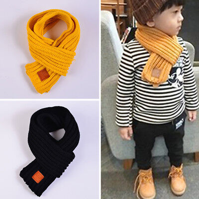 Pure Color Acrylic Scarf Long Knitting Scarves Children Kids Winter Accessories