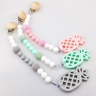 Pineapple Teether Soother Baby Chewable Silicone Beads Dummy Pacifier Chain Clip