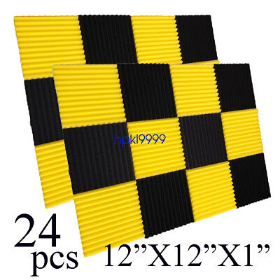 "24 Pack 12x12x1""BLACK/YELLOW Acoustic Wedge Studio Soundproofing Foam Wall Tiles"