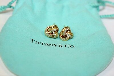 Tiffany & Co. 18K Yellow Gold Love Knot Pave Diamond Earrings with Certificate