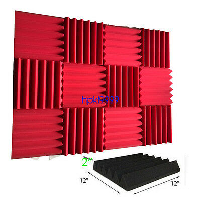 "12 Pack Wedge RED  Acoustic Soundproofing Studio Foam Tiles 2"" x 12"" x 12"""