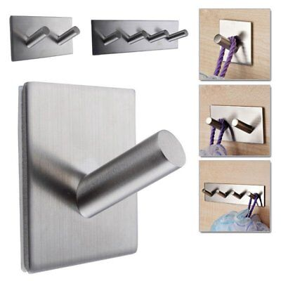Stainless Steel Adhesive Hook Key Bathroom Kitchen Towel Hanger Wall Mount OZB