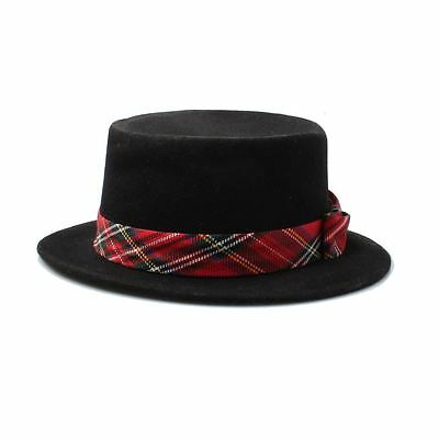 Unisex Black Wool Boater Hat with Red Tartan Band