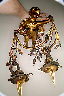 Antique 1900 Bronze French angel cherub wall light sconce 2 arms gorgeous