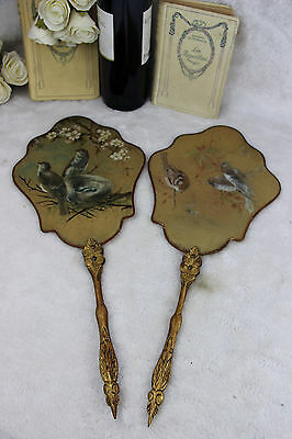 PAIR 19th c Antique French silk paint birds  Fireplace screen face napoleon III