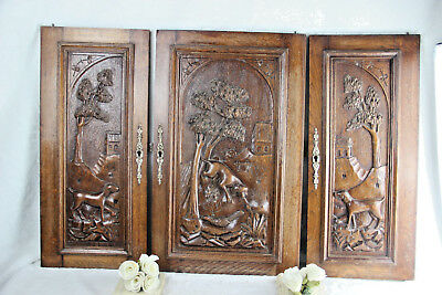 Set 3 Antique French 1930  wood carved relief door panel hunting dogs cabinet