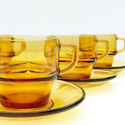 Vintage Retro 1970s Amber Glass Tea Coffee Set 4 Cups Saucers
