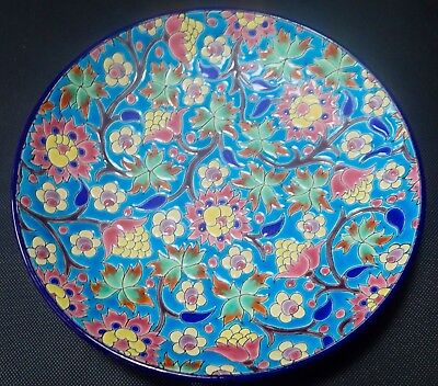 Antique vintage Longwy bowl decorated in enamel with floral motifs