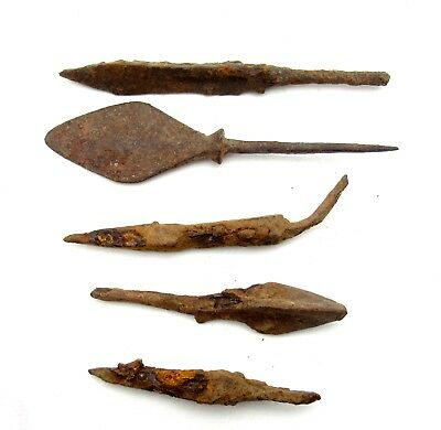 Lot Of 5 Ancient Bronze Arrow Heads - Ancient Historical Artifacts - Q533