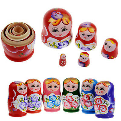 New 5X Wooden Russian Nesting Dolls Babushka Matryoshka Set Hand Painted Gift WO