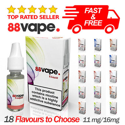 88 Vape PG/VG 80/20 E-Liquid Juice Vaping Nicotine 11mg 16mg 18 Flavours UK Made