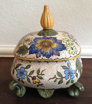 Vintage Gouda Royal Zuid-Holland Pot & Cover, Extended Finial, 'Juan' Pattern