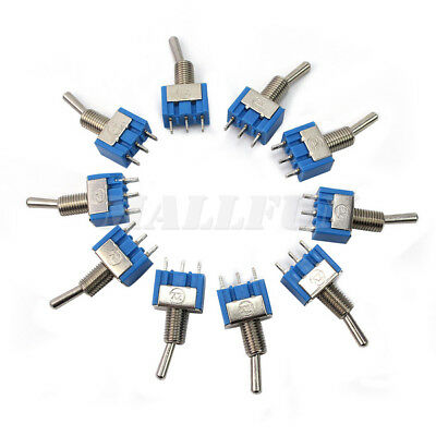 10 Pcs Blue Mini MTS-102 3-Pin  AC ON/OFF SPDT 2 Position Latching Toggle Switch
