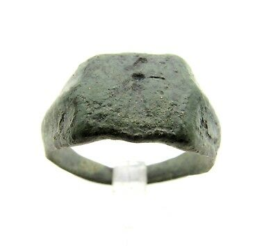Roman Bronze Ring W/ Figure - Ancient Wearable Lovely Artifact - Q569