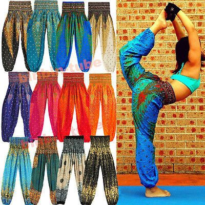 AU Women Loose Bohemian Thai Harem Trousers Casual Boho Hippy Baggy Yoga Pants