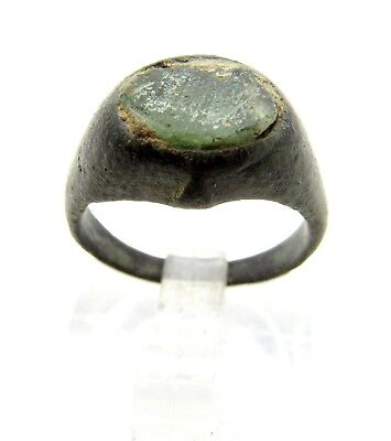 Medieval Bronze Ring W/ Glass Gem/stone In Bezel -Ancient Wearable Artifact Q572