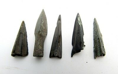 Lot Of 5 Ancient Bronze Arrow Heads - Ancient Historical Artifacts - Q583