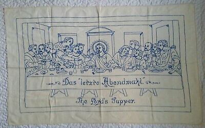 Vintage The Lords Supper Blue Needlepoint Embroidered Tapestry Handmade Religion