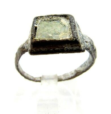 Medieval Bronze Ring W/ Glass Gem/stone In Bezel -Ancient Wearable Artifact Q585