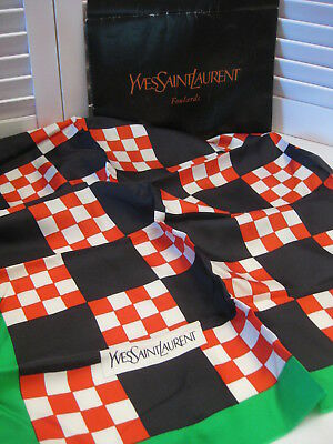 Vintage Yves Saint Laurent 100% Silk Scarf Made in France 27 x 27