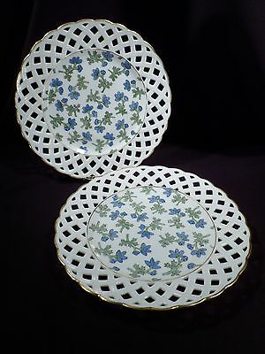 Rare Pair of 1887 Porcelain Cabinet Plates, Signed, Antique, Lattice Rims