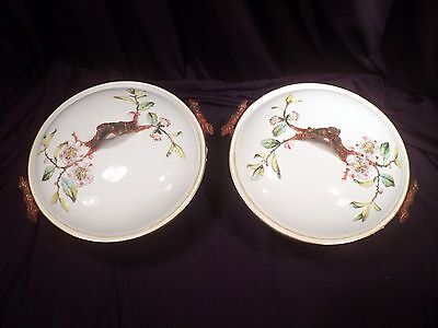 Very Rare Pair Staffordshire Pottery, England, Vegetable Tureens with Covers