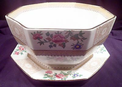 """Rare Victorian Booth's 10"""" Diameter Octagonal Bowl with Matching 10 1/2"""" Plate"""